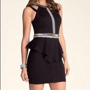 Bebe Jeweled Peplum Dress